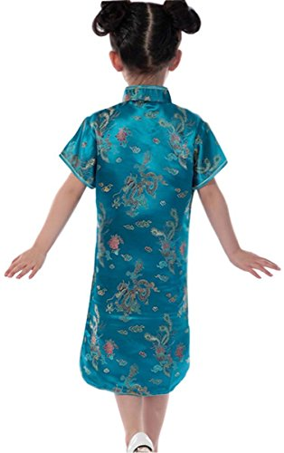 Shrimp Costume Uk (True Meaning Pretty Dragon Chinese Cheongsam Dresses Mini Dresses for Girls Blue4T)
