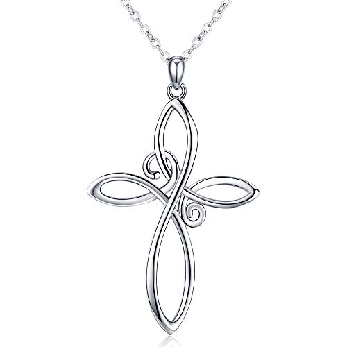 Celtic Knot Necklace, S925 Sterling Silver Infinity Love Faith Hope Pendant 18K White Gold Dainty Necklace Jewelry Gift for Women Men