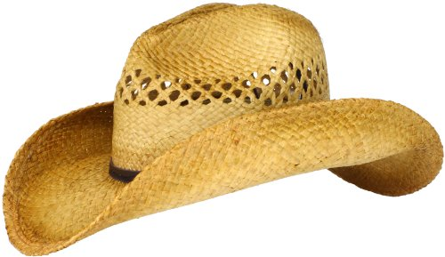San Diego Hat Company Women's Raffia Cowboy Hat, Tea, One Size