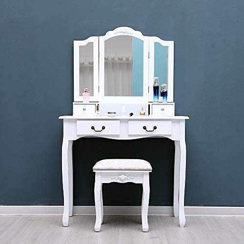 Binlin Dressing Table Set,Bedroom Makeup Cosmetic Beauty Vanity Hair Dressing Table Set Tri-Folding Mirror, Upholstered Stool Seat, 4 Drawer Storage Organizers - White