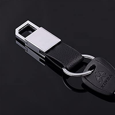 MuLier Simple And Easy to Install Keys KeyChains,Genuine Leather Eco-friendly Zinc Alloy Black Key Chain
