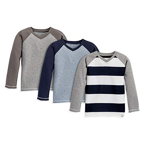 Burt's Bees Baby Baby Boys T-Shirts, Set of 3 Organic Short Long Sleeve V-Neck Tees, Grey/Blue/Navy Stripe, 2 Toddler