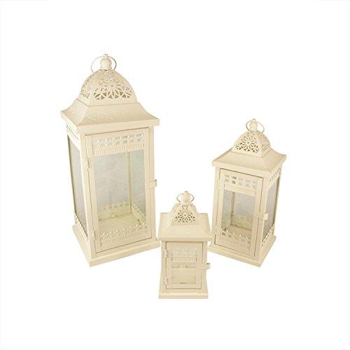 Set of 3 Cream Garden Getaway Ornate Pillar Candle Holder Lanterns 20.5