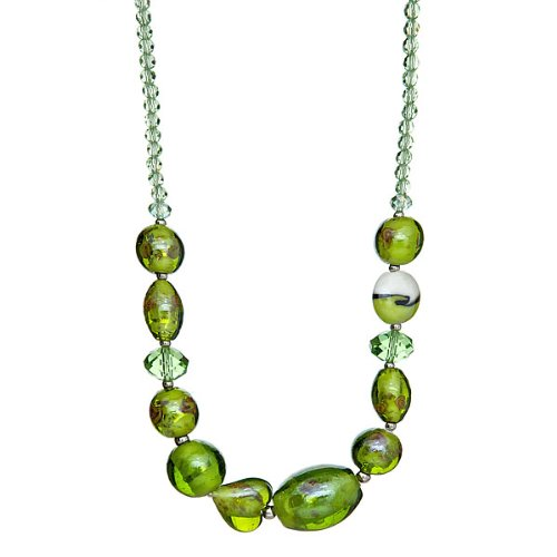 "Lova Jewelry ""Spring Grass"" Hand-Blown Venetian Murano Glass Necklace - Crystal Venetian Necklace"