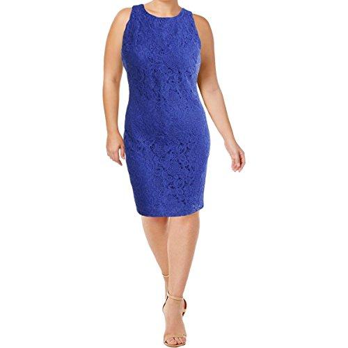 LAUREN RALPH LAUREN Womens Plus Lace Floral Pattern Wear to Work Dress Blue 18 (China Lauren Patterns Ralph)