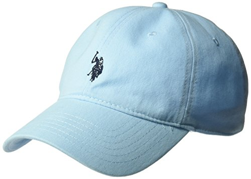 U.S. Polo Assn. Men's Washed Twill Baseball Cap, 100% Cotton, Adjustable, Light Blue One Size