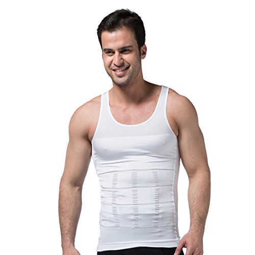Pro Shaper (GWELL Men's Slimming Body Shaper shirt Body Sculpting Vests Abdomen Undershirt Sweat Proof PRO Clothes White M)