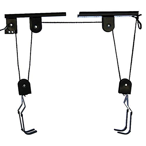 Bike Lift Hoist for Garage Storage - Heavy Duty Ceiling Mountain Bicycle Hanger Pulley Rack 100 lb Capacity