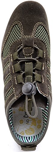 Ladies/Womens Real Leather Suede Trainer Style Outdoor/Walking Shoes Olive EFISQ9zQK
