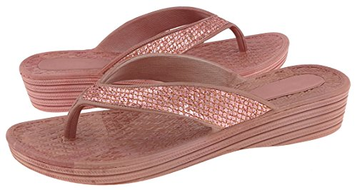 Capelli New York Mesh Faux Leather Thong Ladies Flip Flop Rose Gold 8