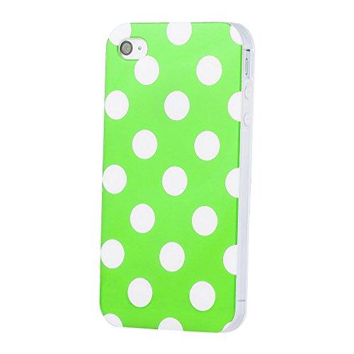 Apple iPhone 4 / 4S | iCues pois TPU Case vert | [Protecteur d'écran, y compris] Mesdames Femmes Filles motif motif gel de protection en silicone peau Couvercle de protection Couvercle Coque Housse Sa