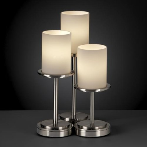 Justice Design Group Fusion 3-Light Table Lamp - Brushed Nickel Finish with Opal Artisan Glass Shade