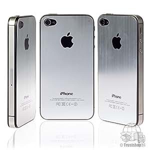 iPhone 4S Back Cover, aluminio cepillado en plata, diseño con logotipo negro