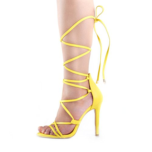 onlymaker Women's Gladiator Ankle Strap Lace up Open Toe Stiletto Snake Patterned Harmoni Heeled Strappy Sandals Black Yellow 6 M US -