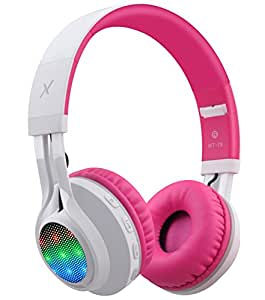 Riwbox WT-7S Bluetooth Headphones, LED Light Up Wireless Foldable Stereo Headset with Microphone and Volume Control for PC/ iPhone/ TV/ iPad (Pink)
