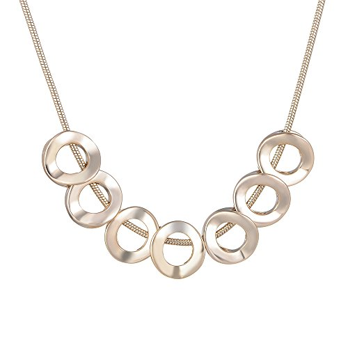 XZP 7 Circles Chain Necklaces for Women Metal Chunky Jewelry Friendship Simple Casual Gifts Necklace Pale Gold Plated Snake Chain