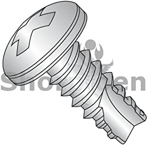 2 Length Type 23 Zinc Plated Finish #8-32 Thread Size Pack of 50 Steel Thread Cutting Screw Pan Head Phillips Drive