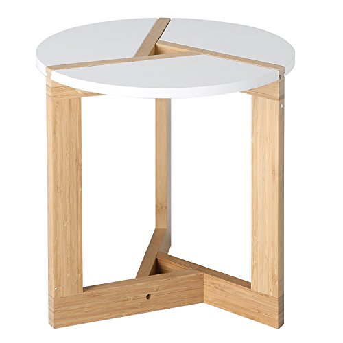 mygift bamboo coffee end table round modern living room tabletop white small