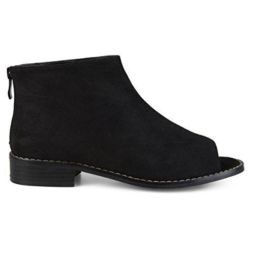 Brinley Co. Womens Faux Suede Open Toe Booties Black, 8.5 Regular US