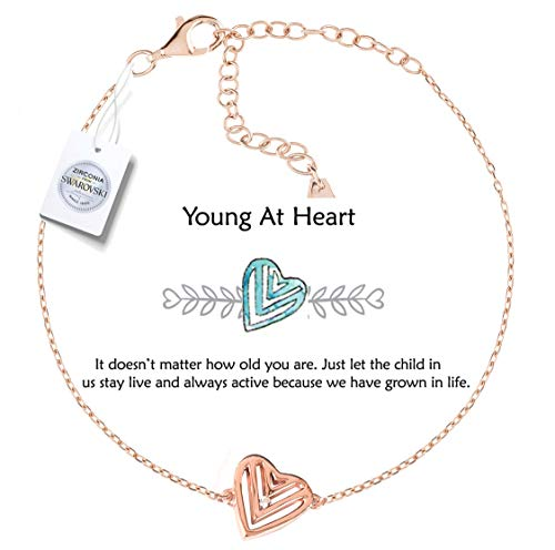 Gold Plated Silver Plated Charm Bracelet - Vivid&Keith Women's Bracelet 925 Sterling Silver Jewelry 18K Plated Adjustable Swarovski Zirconia Charm Bracelet… (Young at Heart, Rose-Gold-Plated)