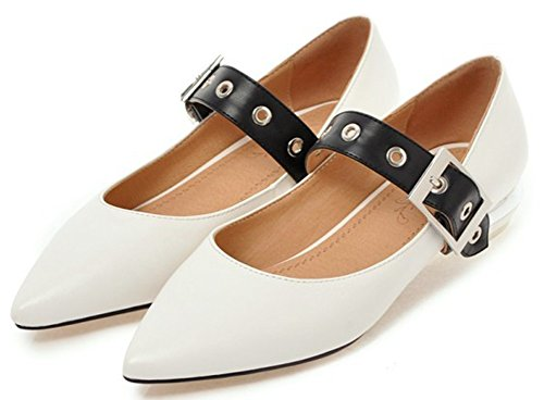 IDIFU Womens Comfy Low Top Low Cut Buckled Low Block Heeled Pointy Toe Pumps White c3JmzT7