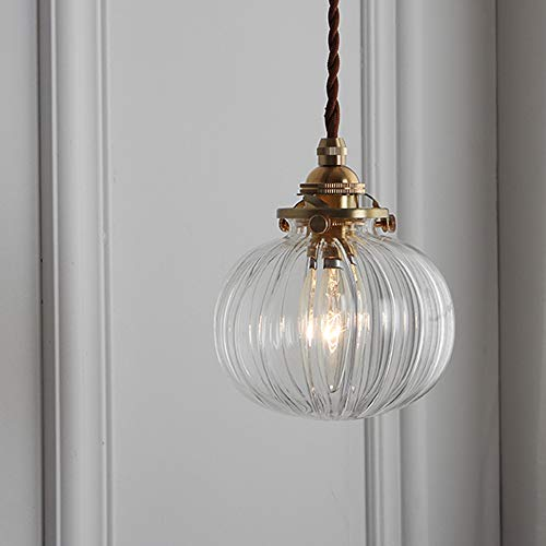 Phwii Hanging Pendant Lighting Fixture Clear Glass Shade with Brass Finish Height Adjustable Vintage Modern One-Light Ceiling Lamp ()
