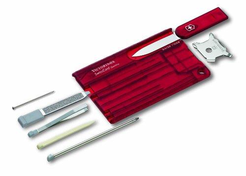 Victorinox Swisscard Q Rubi con 12 Usos, rojo transparente