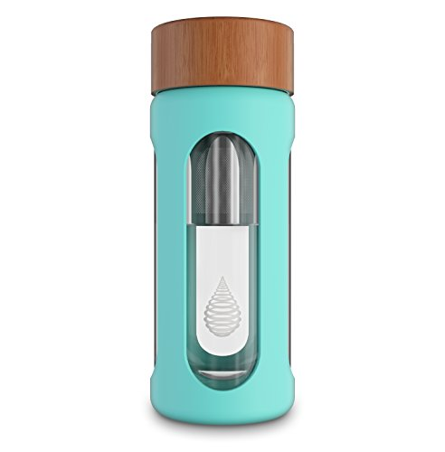 pH HYDRATE Glass Alkaline Water Bottle - Portable Alkaline Water Filter Ionizer - Water Filter Bottle - Increase pH, Reduce Fluoride, Remove Heavy Metals & Chlorine (300 ml)