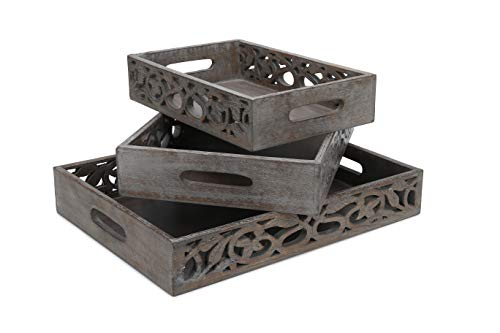 - Rustic Wood Tray set of 3 nesting torched 16 14 12 inch brown wooden country leaves leaf