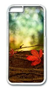Red leaf macro blurred background PC Transparent Hard Case for Apple iPhone 6(4.7 inch)