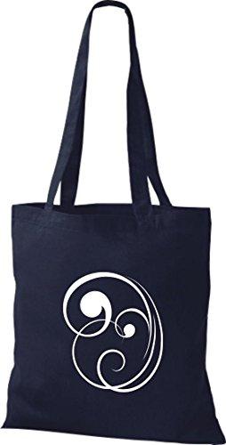 Bolsa de tela decoración floral funda de algodón, bolsa bandolera muchos colores azul marino
