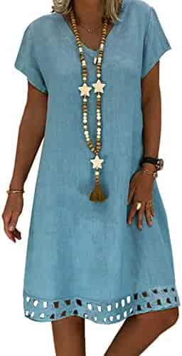 e7f2bb66951 ROSKIKI Womens Short Sleeve V Neck Casual Summer Dresses Hollowed Loose  Beach Sun Dresses Knee Length