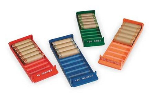 MMF Industries Porta-Count Rolled Coin Storage 4 Tray Set, Color-Coded Thermoplastic, Assorted Colors (212080000) -