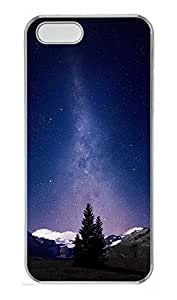 iPhone 5 5S Case Awesome Milky Way And Mountains Tree PC Custom iPhone 5 5S Case Cover Transparent
