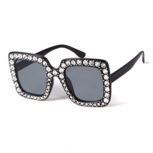 Oversize Square Crystal Sunglasses Women Luxury Brand Designer Shades - Brand Shades Sunglasses