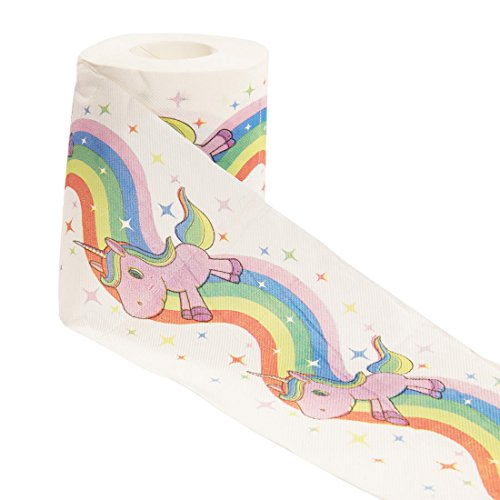 Toilet Kids Paper - getDigital Unicorn and Rainbow Toilet Paper Bathroom Tissue | Gift Box Included | 1 Roll with 200 Sheets | 3-ply