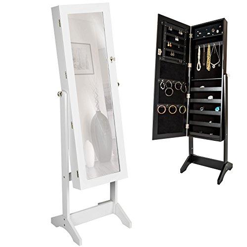 TecTake Luxus Spiegelschmuckschrank mit extra großem Spiegel (Weiß)