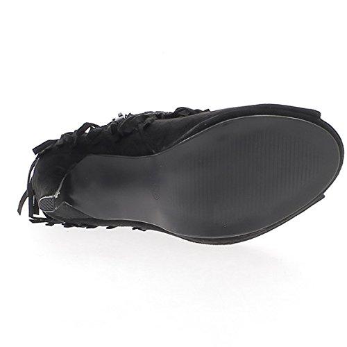 Mujer, botines, tacones finos de negro 10.5 cm abren ven gamuza y flecos