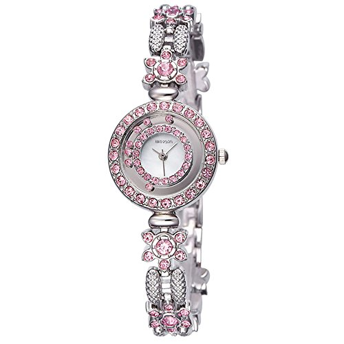 AStarsport Women Luxury Elegant Flower Rhinestone Flower Bangle Bracelet Watches Fashion Lady Dress Watch Analog Wristwatch Silver Pink by AStarsport (Image #1)