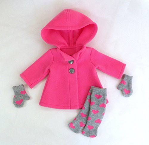 Pink Fleece Doll Coat with Valentine Socks and Mittens, fits 18 inch dolls such as American Girl, Our Generation