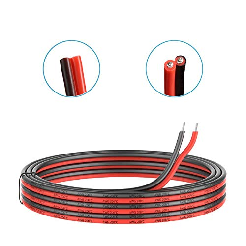 (16 Gauge Silicone Electric Wire, EvZ 33ft 16AWG Flexible 2 Conductor Parallel Cable, 2pin Red Black, High Temperature Resistant, Single Color LED Strip Extension)