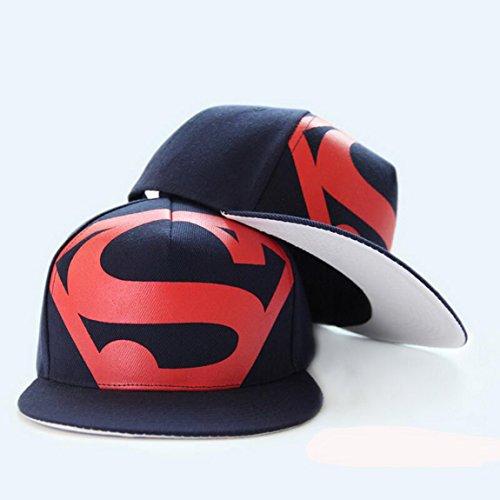 (Blazers Proforms Costumes Fashion trend Men's Snapback adjustable Unisex Baseball Cap Hip Hop hat - Red S Super Man of Steel Deep Blue)