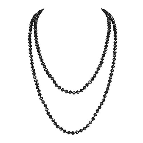 POMINA 8mm Glass Beaded Long Necklaces, 60 inches (Black) ()