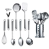 Berglander Stainless Steel Kitchen Utensil 7 Piece With 1 Stand,Cooking Utensils, Slotted Tuner, Ladle, Skimmer, Serving Spoon, Pasta Server,Potato Maseher, Egg Whisk. Kitchen Tools.Steel Utensil Set