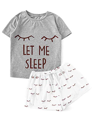 WDIRARA Women's Sleepwear Closed Eyes Print Tee and Shorts Pajama Set Grey XL