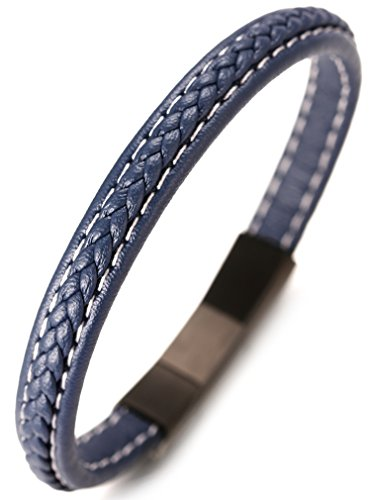 - Halukakah Premium ● Jazz ● Men's Genuine Leather Handmade Victory Pattern Braid Bracelet Titanium Magnetic Clasp 8.5