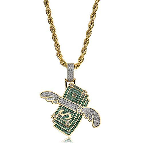 Green Man Silver Pendant - SENTERIA Hip Hop Iced-Out Men Necklace Rapper 18K Gold Plated CZ Fully Bling Bubble Broken Heart Pendant Necklace Chain for Men Women Fashion Jewelry Gifts (Green)