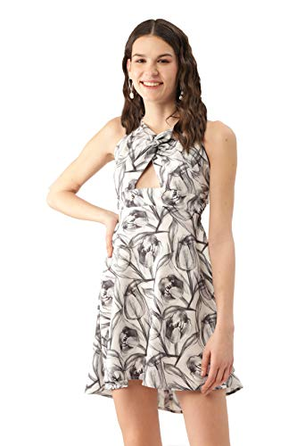 MELOSO Women A-line White, Grey Halter Neck Mini Dress with All Over Print