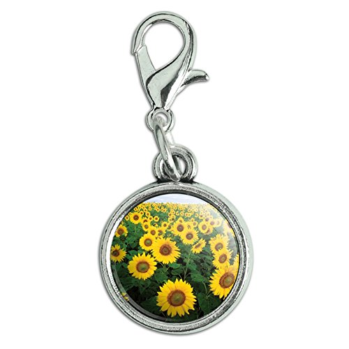 Graphics and More Antiqued Bracelet Pendant Zipper Pull Charm with Lobster Clasp Flowers - Field of Sunflowers