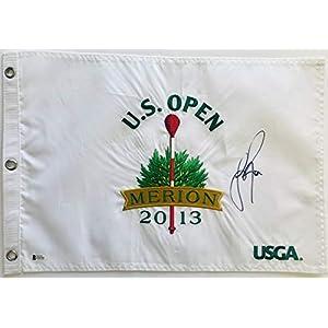 Justin Rose signed 2013 U.S. open flag Merion golf pga champ beckett coa